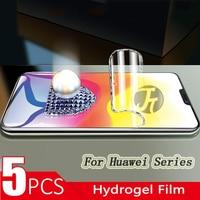 5 pçs filme de hidrogel protetor de tela para huawei p20 30 pro lite para mate20 x 30 lite filme protetor de tela frente não vidro
