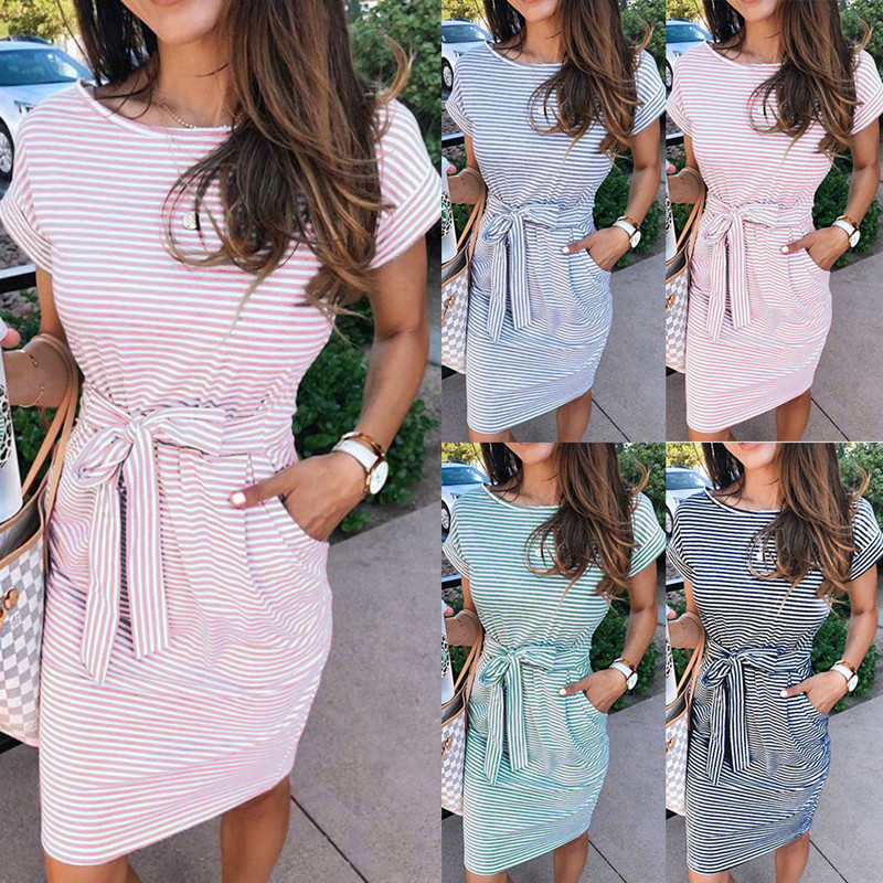 Casual Stripe Women Tshirt Dress Elegant O Neck Short Sleeve Sashes Pocket Black Pink Sundress Cotton Summer Midi Dress Vestidos