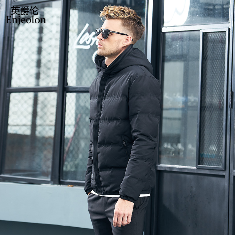 Enjeolon Brandwinter Cotton Padded Hooded Jacket Men Thick Hoodies Parka Coat Male Quilted Winter Jacket Coat 3XL MF0709