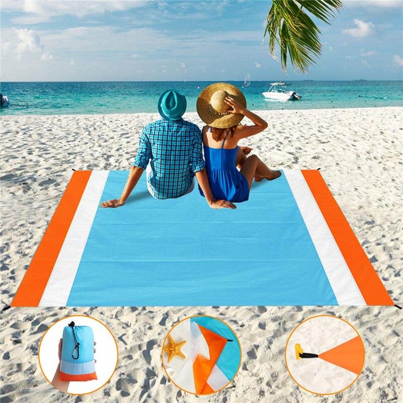 7 человек портативный пляжное одеяло Быстросохнущий пляжный коврик для пикника на открытом воздухе большой песок бесплатно водонепроницае...