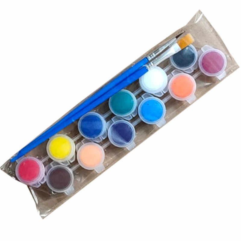 12 Màu Acrylic Họa Tiết Lông Nước Sắc Tố Bộ Quần Áo Dệt Vải Vẽ Tay Treo Tường Thạch Cao Tranh Vẽ Cho Trẻ Em