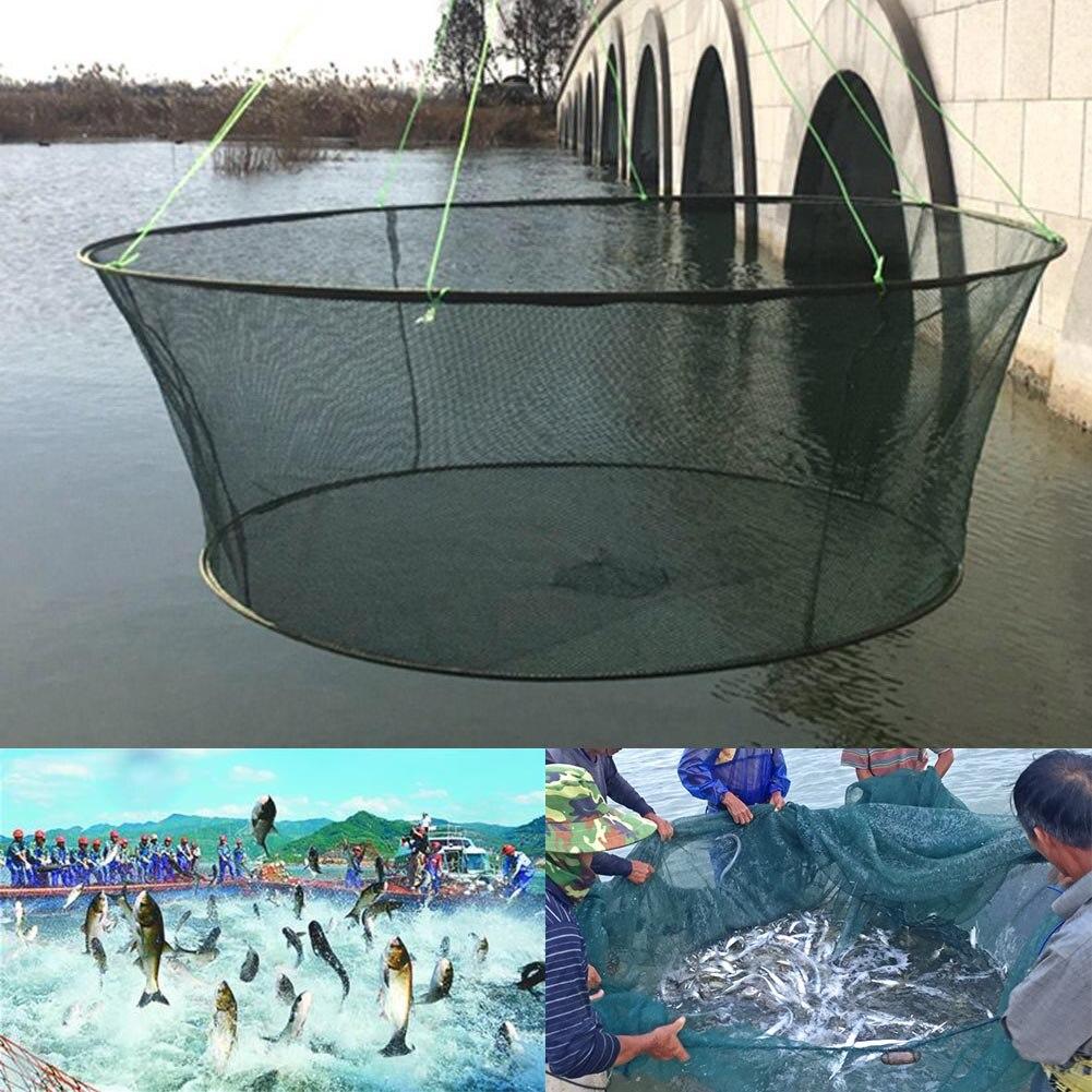Hot Foldable Drop Net Fishing Landing Prawn Bait Crab Shrimp Pier Harbour Pond Mesh MVI-ing