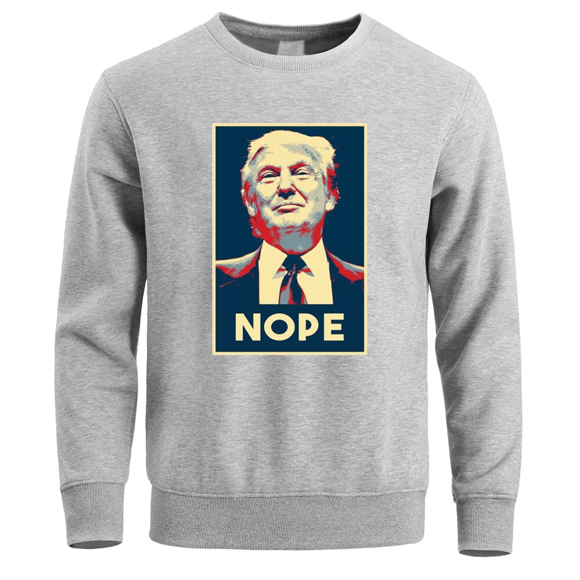 Nope Trump Hoodie Men Sweatshirt Streetwear 2019 Winter Fleece Warm Crewneck Pullover Sweatshirts Hoodies Mens Hoody Plus Size