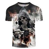 Gran oferta cráneo impreso 3D camiseta hombres mujeres cráneo negro diseño de póquer ropa de calle para camiseta de manga corta para hombre Camisetas Hombre