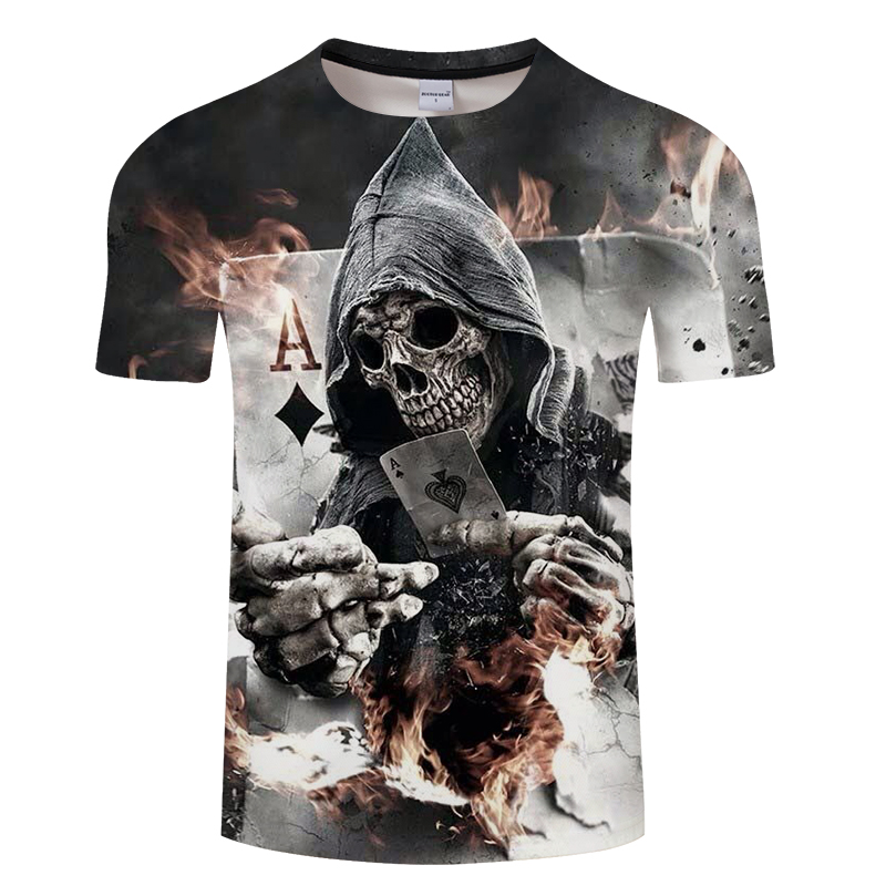 Hot Sale Skull Printed 3D T-Shirt Men Women Black Skull Poker Design Streetwear For Male Short Sleeve Tee Tops Man