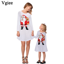 Vgiee Mother Daughter Dresses Christmas Matching White Cotton Print Full Pattern for Cartoon Mommy and Me Clothes CC680