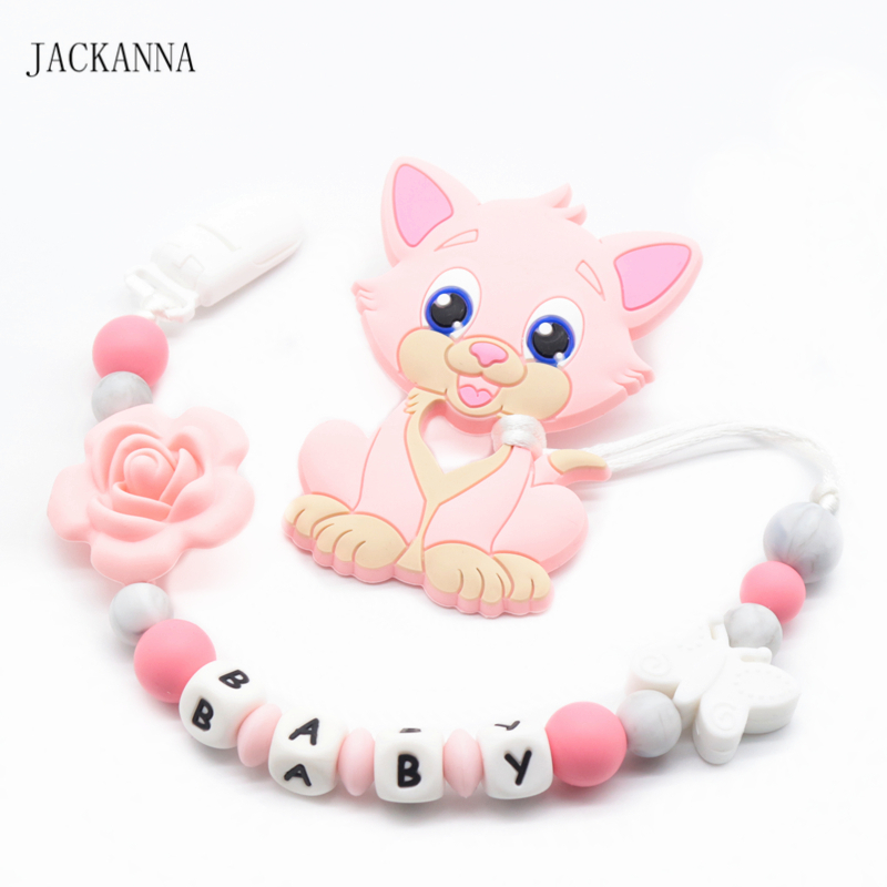 Personalized Name Baby Pacifier Chain With Cat Teether Shower Gifts Newborn Dummy Clip BPA Free Baby Pacifier Clips Holder Chain
