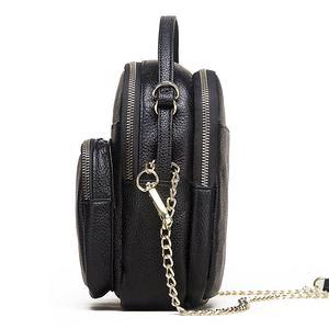 Image 2 - GZCZ 100% véritable cuir de vache sac de messager femmes sac à bandoulière mode bandoulière poitrine sac à main noir pour fourre tout pochette dame