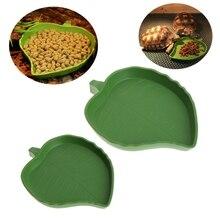 Reptile Water Food Dish Bowl Plastic Leaf Shape Gecko Worm Feeder