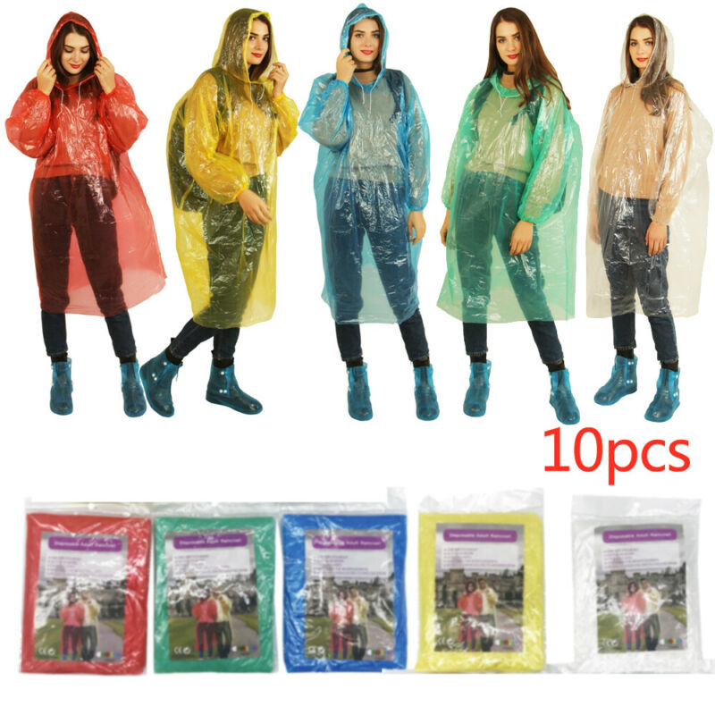 10PCS Disposable Raincoat Men Women Waterproof Rain Coat Poncho Hiking Camping Fishing Raincoat EVA Hooded