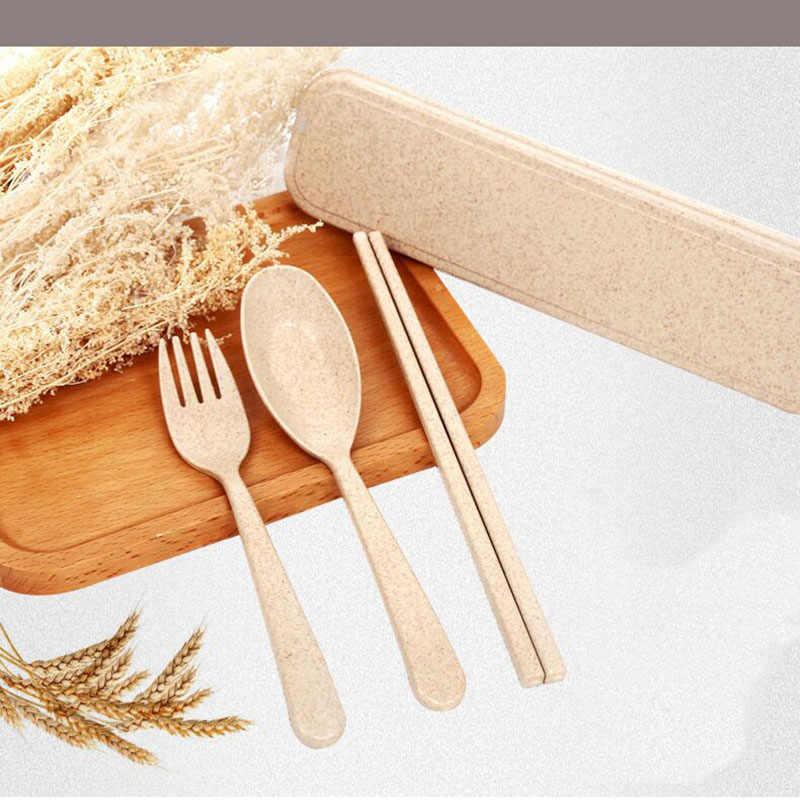 Couverts vaisselle blé paille boîte vaisselle ensembles Portable voyage nourriture enfants adulte Camping pique-nique ensemble cadeau