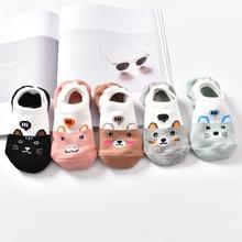 Chaussettes de printemps pour femmes, 10 pièces = 5, Animal mignon, Style coréen, drôle, chat, chien, Panda, coupe basse, cheville courte, paires/lot, Size34-40