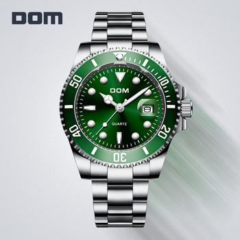 DOM Casual Business Watches Men Green Top Brand Luxury Solid Steel Wrist Watch Man Clock Fashion Waterproof Wristwatch M-1263 - discount item  50% OFF Men's Watches