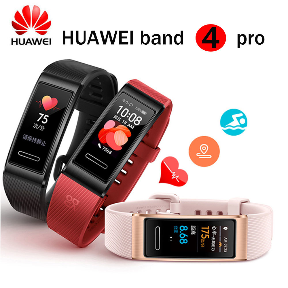Original Huawei band 4 Pro smart band monitor of card speaking health monitor GPS Proactive Health Monitoring SpO2 Blood Oxygen|Smart Wristbands| |  - title=