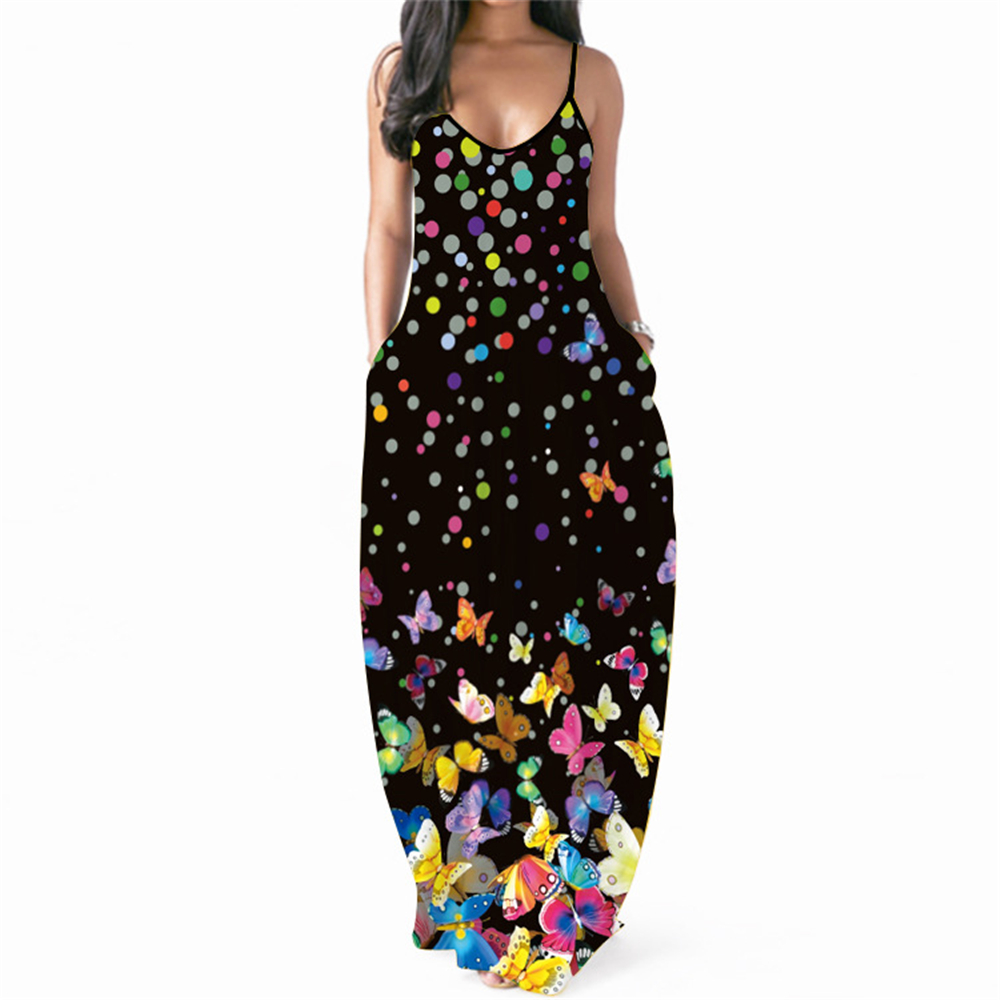 Gothic Butterfly Flower Dress Women Vintage Sexy Beach Clothing 2021 Banquet Dinner Summer Outfit Vacation African Style Dresses