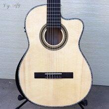 라디안 코너가있는 고급 불꽃 메이플 컷 웨이 클래식 기타 EQ 기타가있는 39 인치 스프루스 솔리드 우드 탑 자연 색상
