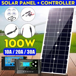 100W 18V MonocrystalineSolar Panel Dual 12V/5V DC cargador USB Kit con 10A Controlador Solar y Cables