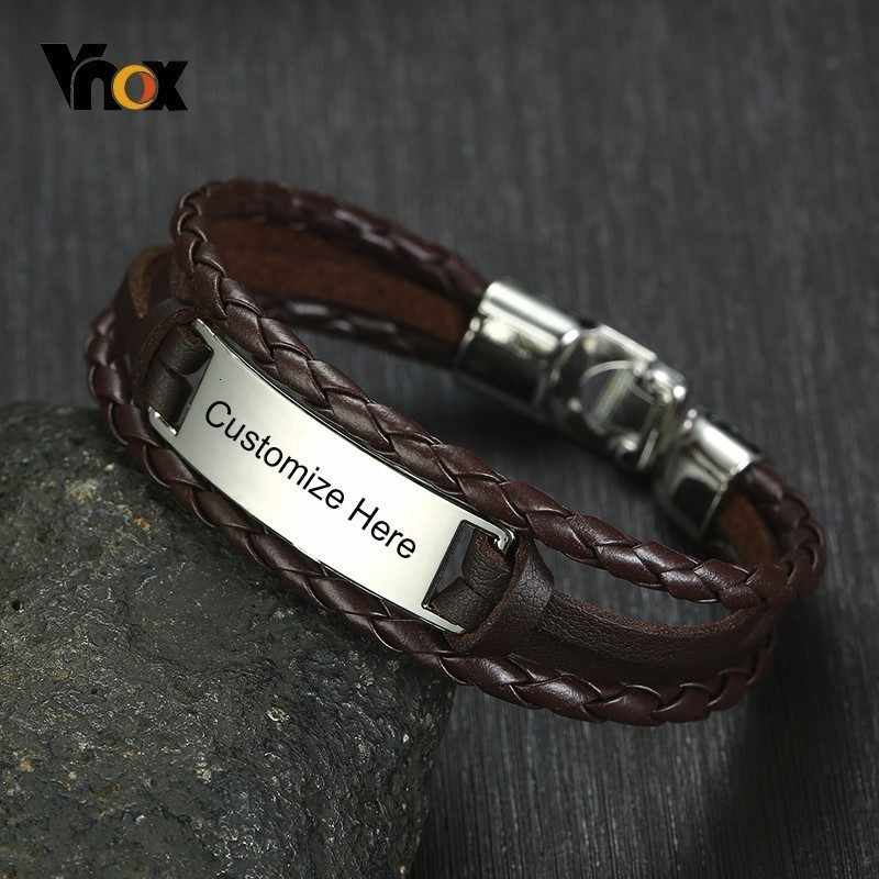 Vnox Free Custom ID Tag Triple Layers Leather Bracelets for Men Stainless Steel Bar Engrave Name Inspiration Pulseira