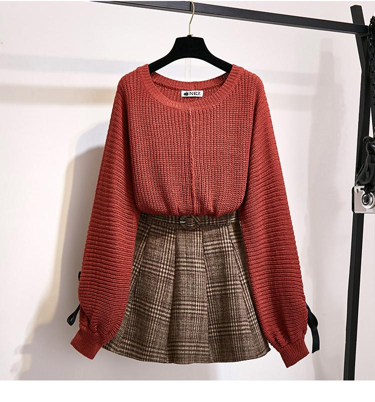 H3bf3d21fcc79426490ae4dadb85ef78ap - ICHOIX women 2 piece set knitted tops and skirt set Korean style student casual two piece outfits fall winter set clothing