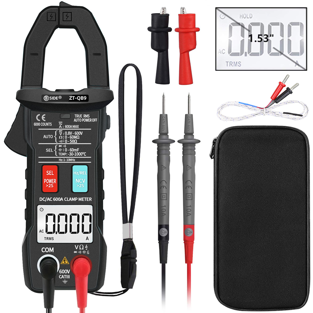 DC AC 600A Digital Clamp Meter BSIDE ZT-QB9 T-RMS Smart pliers Current Ammeter Auto Rang Multimeter Capacitor Voltage NCV Tester