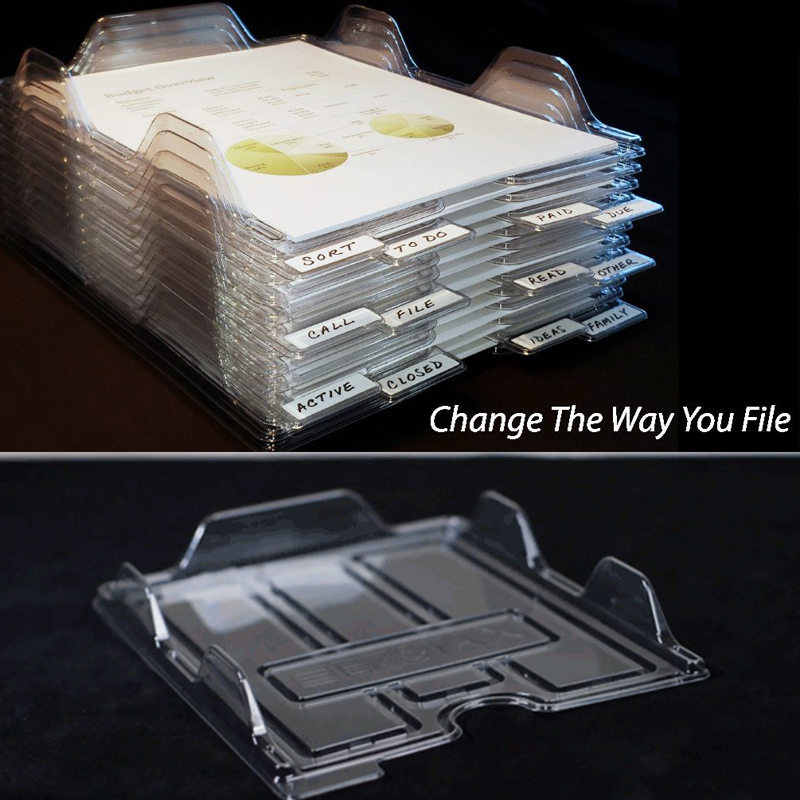 New File Storage Box Document Rack Organizer Tray Stackable For Magazine Paper Office DOM668