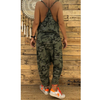 Summer Women Sexy Jumpsuits Camouflage Print Spaghetti Strap V Neck Casual Sleeveless Military Streetwear Rompers 2