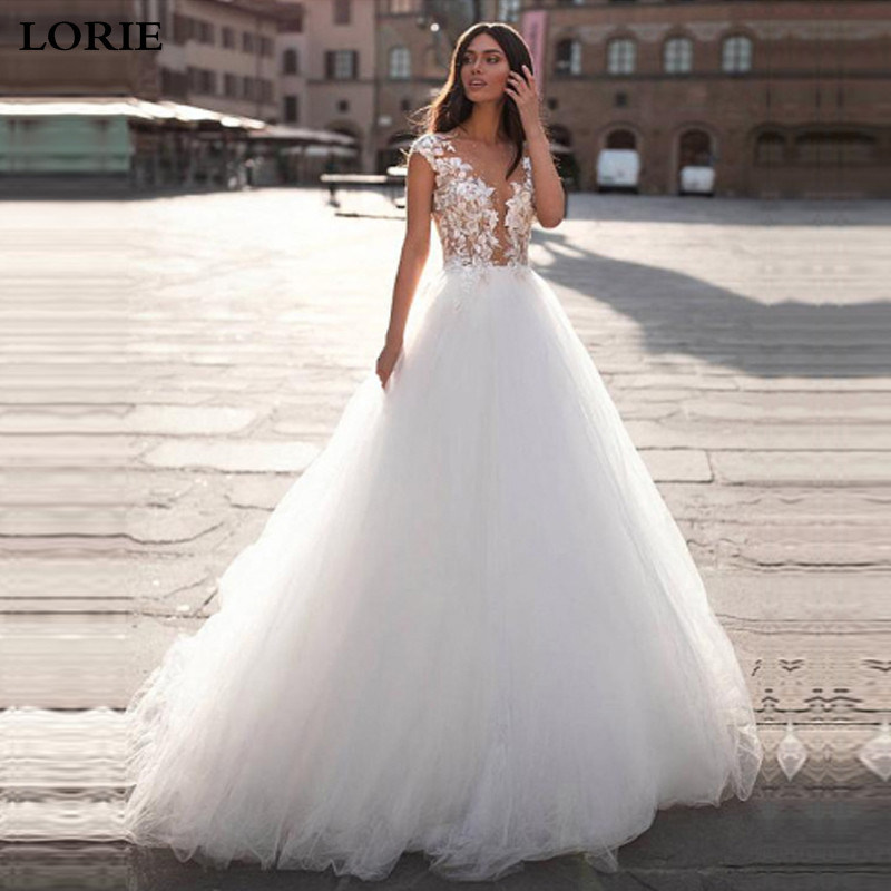 LORIE Boho Wedding Dresses Top Lace Appliques Bride Dress A Line Robe De Mariee Cap Sleeves Wedding Gown