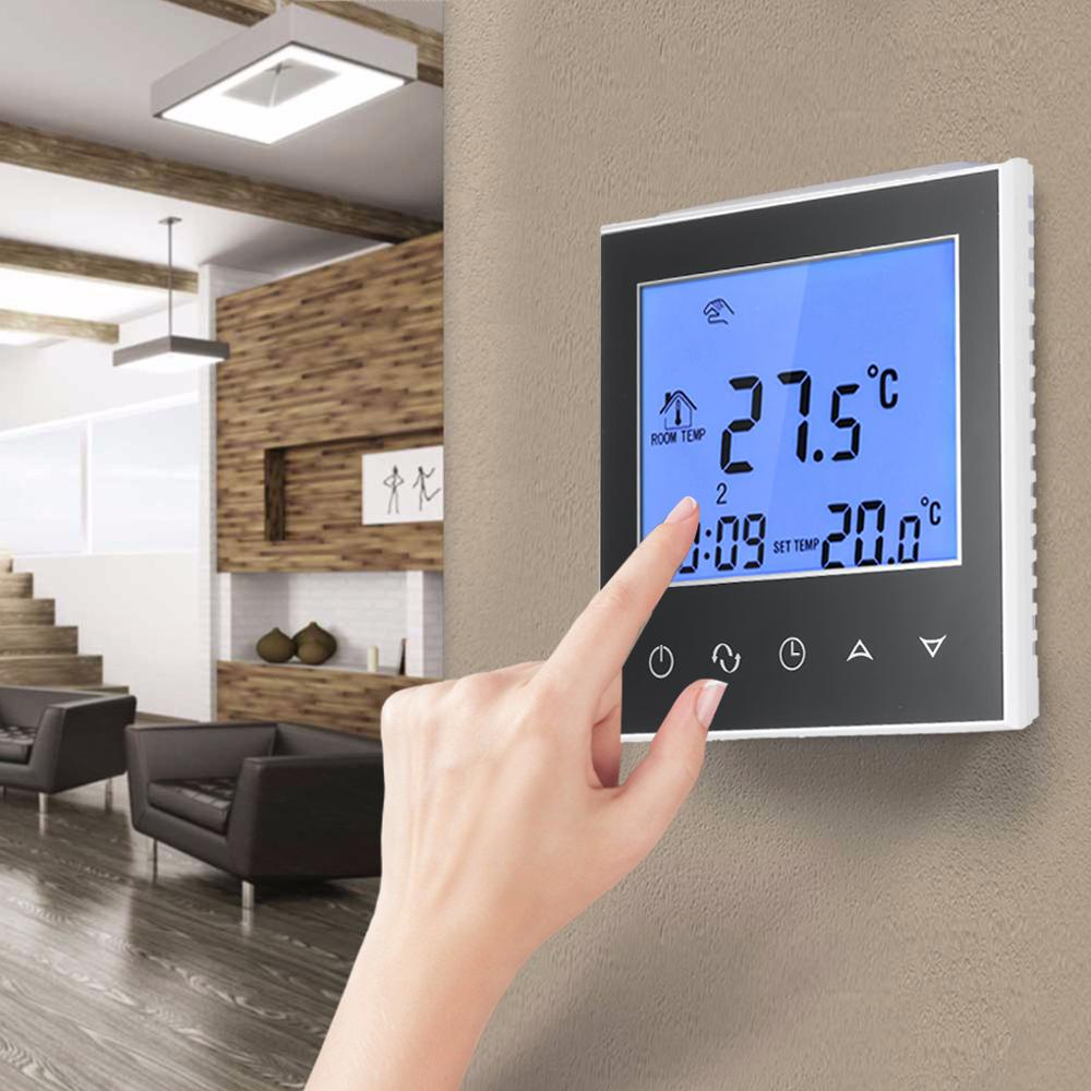LCD Display Touch Screen Wifi Thermostat Electric Floor Heating Temperature Controller For Bedroom NTC Sensor Thermostat