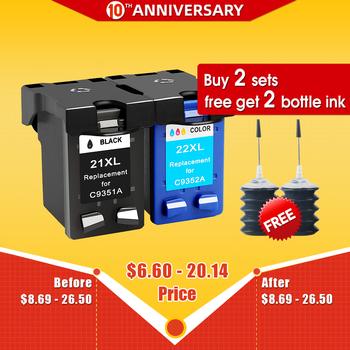 Akcesoria cmyk wymiana wkładu z tuszem do hp 21 hp 21 dla hp 21xl Deskjet F380 F2180 F2280 F4180 F4100 F2100 F2200 F300 drukarki tanie i dobre opinie CMYK SUPPLIES Pełna For HP 21 22 Re-produkowane Wkład atramentowy Hp laserjet remanufactured ink cartridge Black Tri-color
