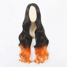 Парик для косплея HAIRJOY из синтетических волос, длинный кудрявый для костюма, рассекающий демонов, камадо незуко