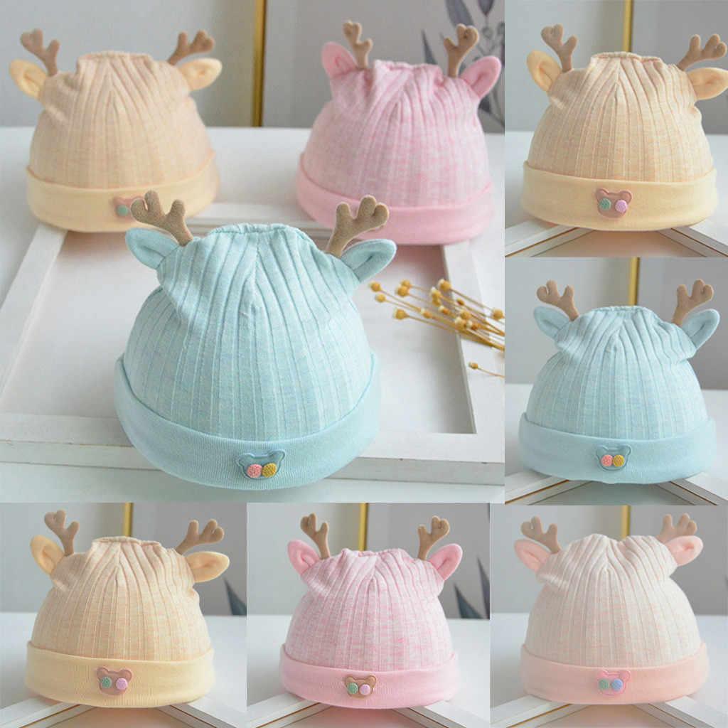 女性ベビーファッション綿の漫画枝角かわいい新生児キャップ胎児キャップ流域帽子ソフトウォームビーニーハットカジュアル暖かいキャップ # BA