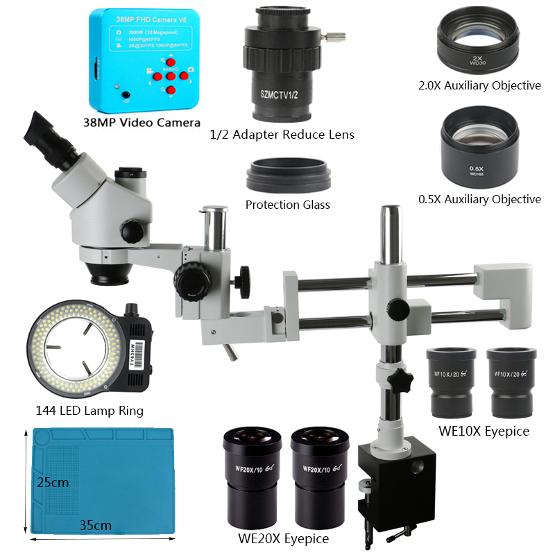 AmScope 3.5X-90X Simul-Focal Stereo Boom Stand Microscope with a Fluorescent Light and 16MP USB3 Camera