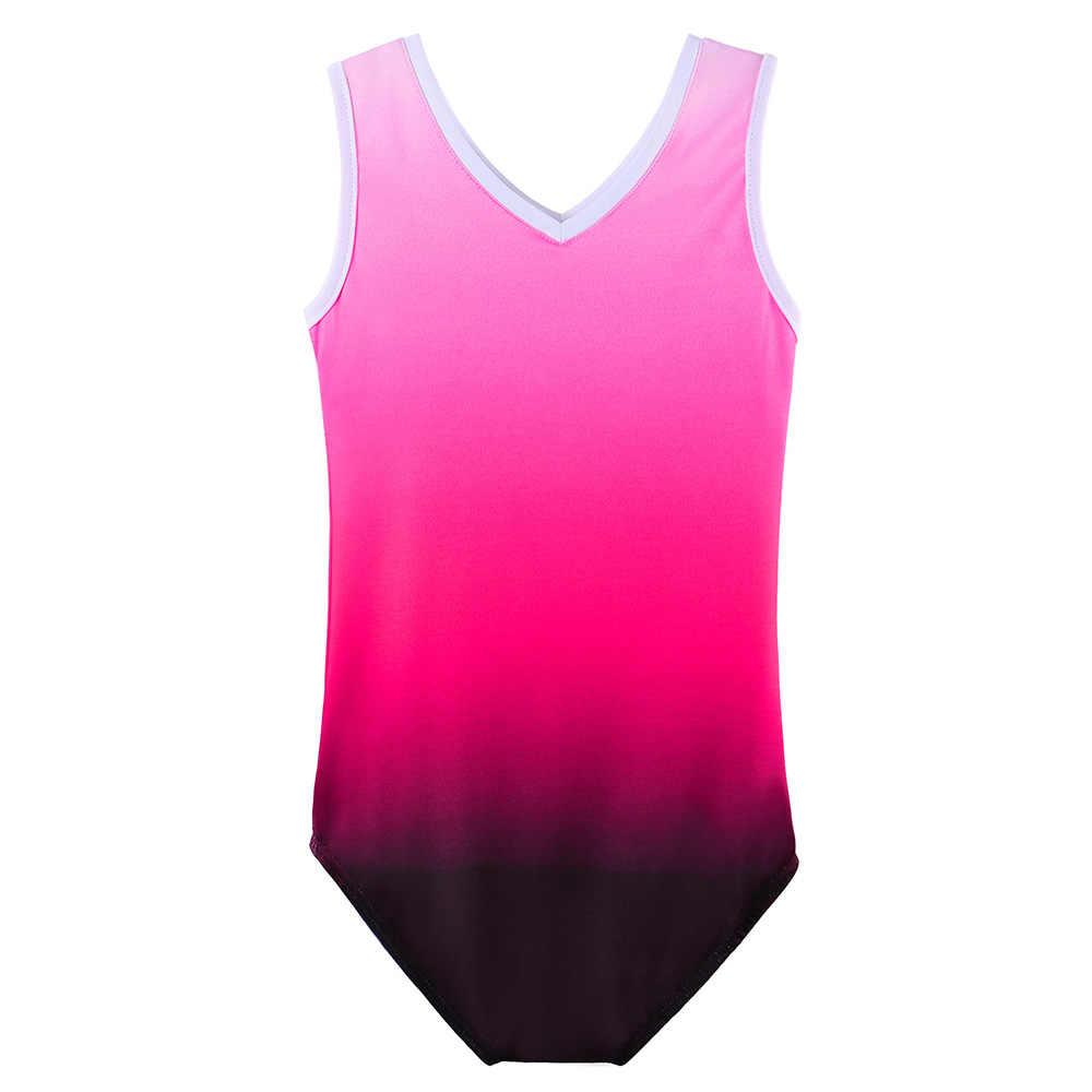 BAOHULU Gradient สี Ballet Leotard สำหรับหญิง V-Neck Dance Sparkle ยิมนาสติกชุด Leotard สำหรับสาว Ballerina