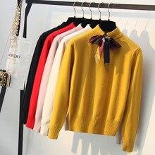 GIGOGOU женский свитер с воротником бабочкой, осенне зимний толстый теплый пуловер для девочек, вязаный женский джемпер, топыВодолазки    АлиЭкспресс