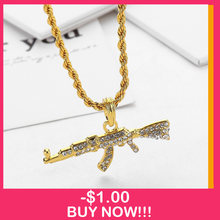 2019 nuevo AK-47 pistola giratoria submachine gun hip hop oro plata color cristal colgante collar iced out Cuban chain jewelry(China)