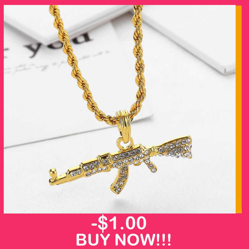 2019 nouveau AK-47 pistolet tournant mitraillette hip hop or argent couleur cristal pendentif collier glacé sur la chaîne cubaine bijoux