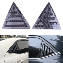 2Pcs Rear Side Window Scoop Louver Vent Cover Trim Carbon Fiber Style Black ABS Fit for Toyota Corolla 2014 2015 2016 2017  2018