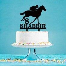 Мужской Топпер для торта с силуэтом лошади, фирменное название на заказ, украшение для торта на день рождения YC135