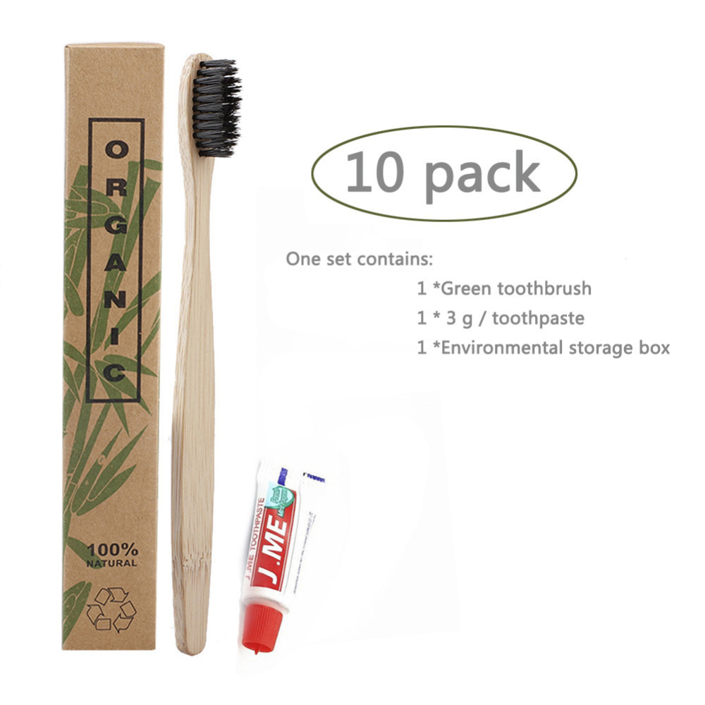 10 Sets Eco Friendly Disposable Travel Toothbrush With Toothpaste Oral Care Kit Travel Toothbrushes For Home Hotel image