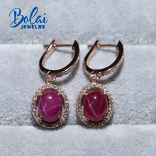 Created starlight ruby clasp earring 925 sterling silver rose gold color fine jewelry for girls gift bolaijewelry promotion