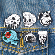 Skull Enamel Pins Brooch Collection Badges Coffee Pot Rose Pizza and Skeleton Brooches Gothic Punk Pin Button Gift For Women Men gothic skull skeleton brooches metal pin button badges enamel hand women sweater kiss brooch black pins halloween jewelry gifts