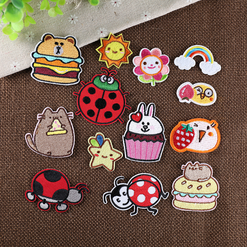 New Cartoon Embroidery Patch Cute Cloth Sticker Hole Patching Clothes Small Size Decorative Sticker Iron on Patches for Clothes