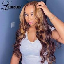 Perruque Body Wave Frontal Wig brésilienne naturelle, cheveux à reflets, colorés blond miel 180, 13x4, densité 4/27, pour femmes
