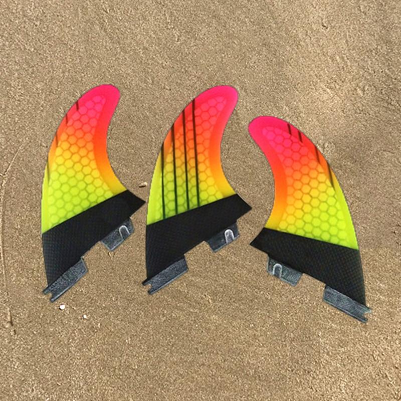 FCS2 ласты вверх-серфинг желтый градиент цвета соты стекловолокна кабоны материал Yep. Surf G5/G7 Размер ласты хорошее качество три набор ласт
