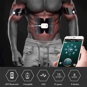 Image 5 - بلوتوث التحكم الذكية اللياقة البدنية تدريب البطن عشرات العضلات محفز EMS الأسلحة مدلك الكهربائية فقدان الوزن ماكينة الجسم