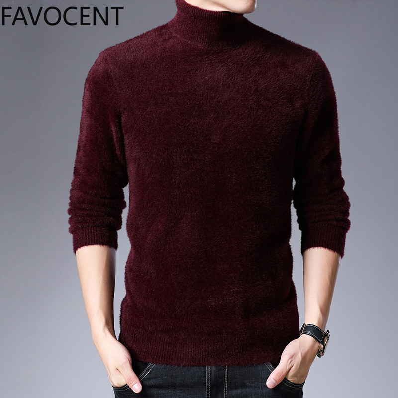 New Winter Sweater Turtleneck Men Sweaters Thick Wool Knitted Male Pullovers Fashion Casual Men Knitwear Imitation Mink Sweater