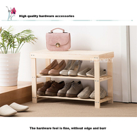 RF-023 Living Room Doorway Pine Shoe Storage Cabinet Entrance Fabric Shoes Trying Stool Creative Double Deck Wood Shoe Rack
