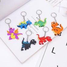 10 pçs dinossauro pequeno pingente de borracha chaveiro decoração para o miúdo brinquedos de pelúcia favores colorido unicórnio fontes festa aniversário