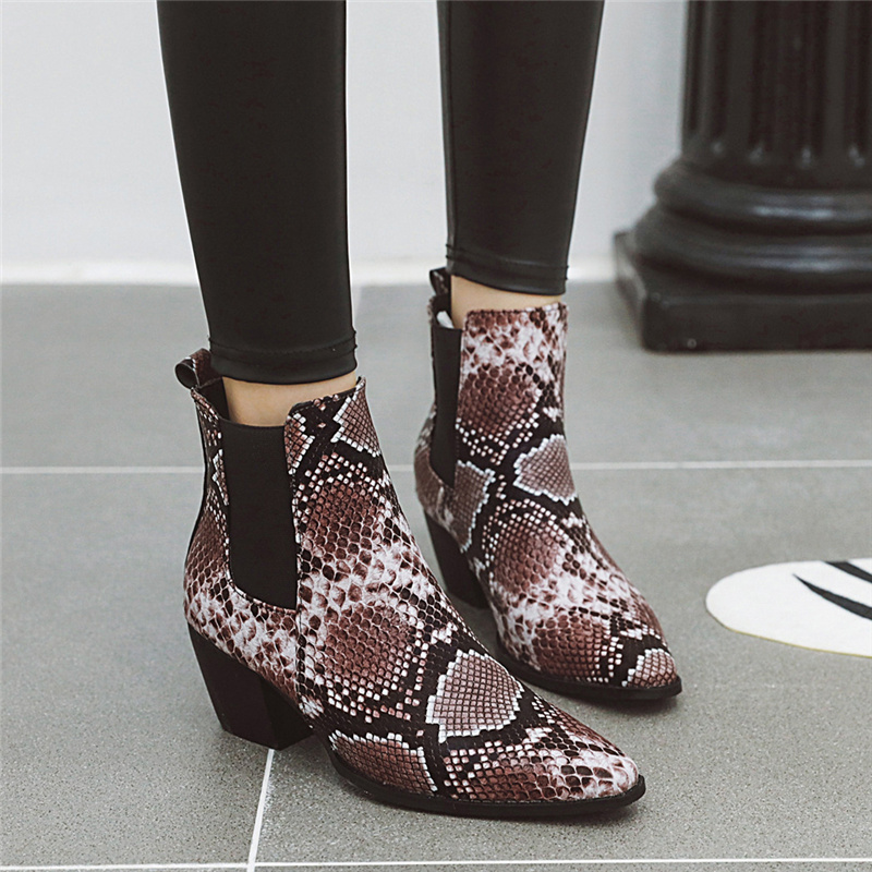 2019 Women Fetish Red Boots Plus Size 5.5cm High Heels Booties Ankle Boots Chunky Stripper Low Heels Snake Skin Print Sexy Shoes