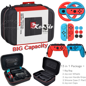 Nintend Switch NS Accessories Kit Console Carrying Storage Bag Joycon Handle Grips Wheel Silicone Case for NintendoSwitch Games(China)